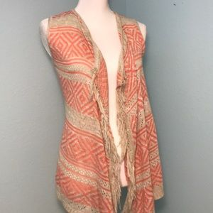 Say What? fringed knit festival vest, coral/tan